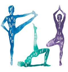 Watercolor silhouettes of woman doing yoga vector