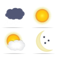 Weather Icons with Sun Cloud Rain and Moon vector