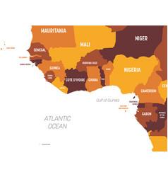 Western africa map - brown orange hue colored on vector