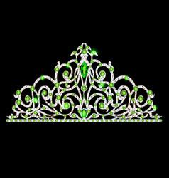 Womens tiara crown wedding with green stones vector