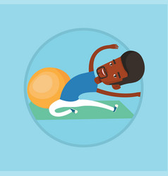 young man exercising with fitball vector image