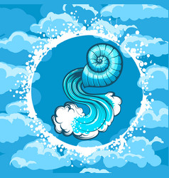 Zodiac sign of aquarius in air circle vector