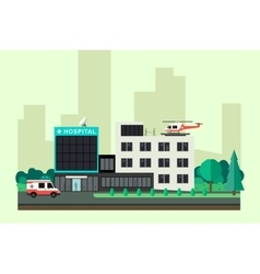Hospital with ambulance car and helicopter vector image
