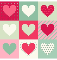 Seamless pattern with hearts on squares vector image