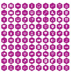 100 help desk icons hexagon violet vector image vector image