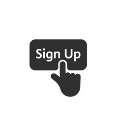 black simple finger presses on sign up button vector image