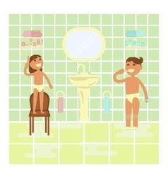 Children on the bathroom interior background vector image