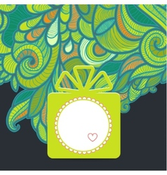 Gift with floral green vector image