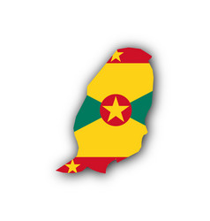 map and flag of grenada vector image vector image