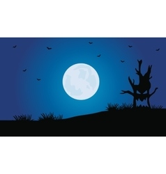 Silhouette of tree monster and full moon vector image vector image