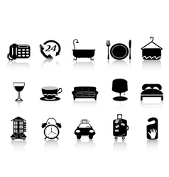 black hotel icons vector image vector image