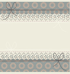 cute lace frame with decorative flowers vector image