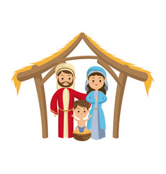 cute manger family holy mary joseph and baby jesus vector image vector image