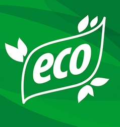 eco logo on a green background vector image