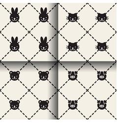 minimal animal seamless patterns vector image vector image