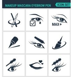 Set of modern icons Makeup mascara eyebrow vector image