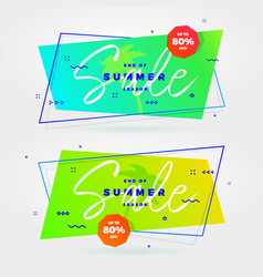summer sale flat retro banners vector image vector image