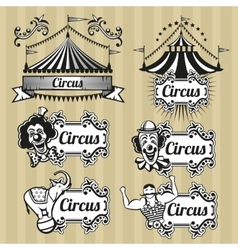 Vintage circus emblems logos labels set vector image vector image