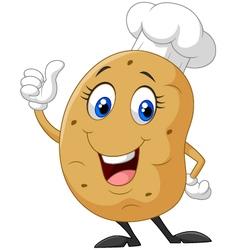 Cartoon potato giving thumb up vector image vector image