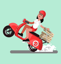 delivery sketch girl vector image vector image