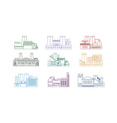 factory thin line set vector image vector image