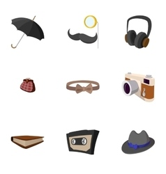 Hipster people icons set flat style vector image vector image