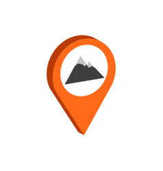 Map pointer with mountain symbol flat isometric vector
