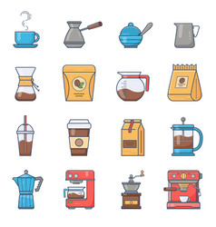 set of coffee elements and coffee vector image vector image