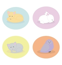 Set of cute animals sleeping vector image vector image