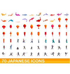 70 japanese icons set cartoon style vector