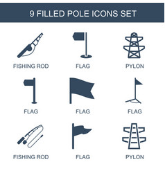 9 pole icons vector