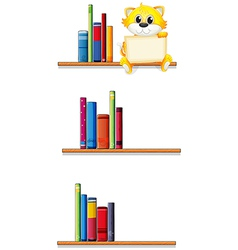 A cat holding an empty board sitting at the shelf vector image