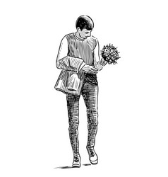 A young man with bouquet goes on date vector