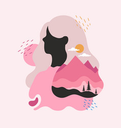 abstract with womans portrait mountain landscape vector image