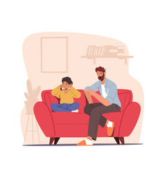 Angry dad character sit on couch scold son closing vector