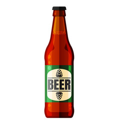 beer bottle icon alcohol drink white vector image
