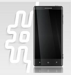 Black screened phone with a hashtag vector