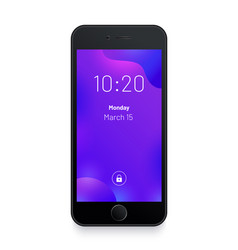 Black smartphone abstract purple background vector