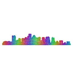 Boston skyline silhouette - multicolor line art vector