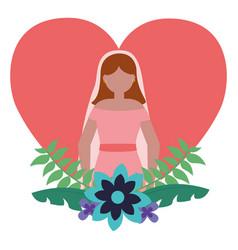 bride in dress flowers love heart vector image