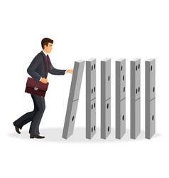 Businessman with briefcase that drops down domino vector