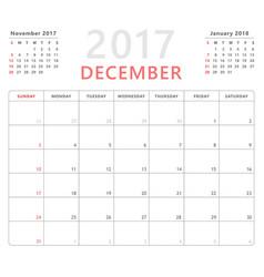 calendar planner 2017 december week starts sunday vector image