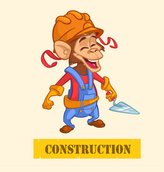 Cartoon construction worker monkey vector