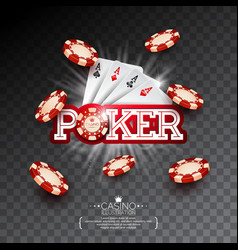 Casino with poker card and falling vector