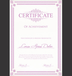 certificate or diploma template 7 vector image