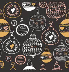 chalkboard pattern with christmas balls xmas art vector image