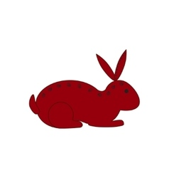 Chinese zodiac symbol red rabbit vector