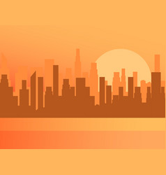 city sunrise contour skyscrapers panorama of vector image