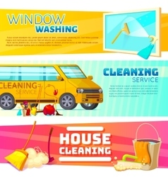 Cleaning Service Banner Set vector image