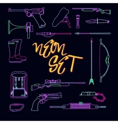 Collection of weapons for hunting in neon style vector
